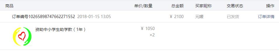 谭乔尔 王屹艺两人各1050元助学款.png